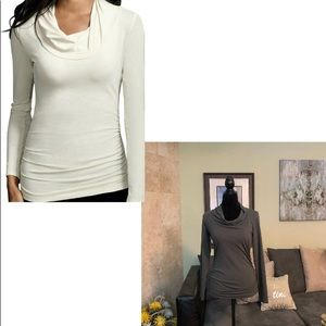 CAbi   Long Sleeve Olive Green Twist Neck Top   S